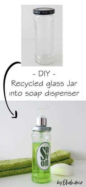 DIY recycled jar into soap dispenser