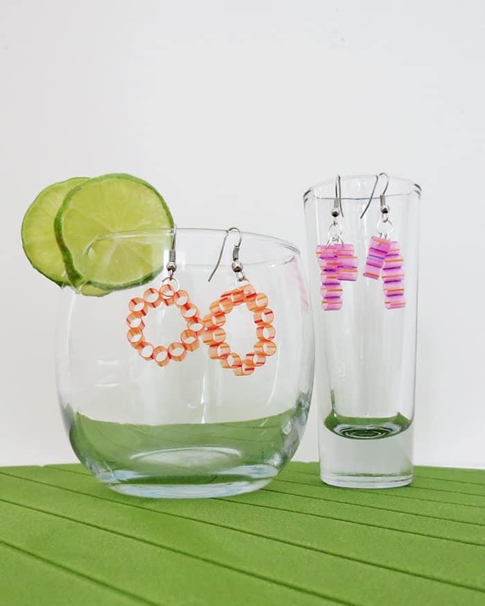 diy straw earrings