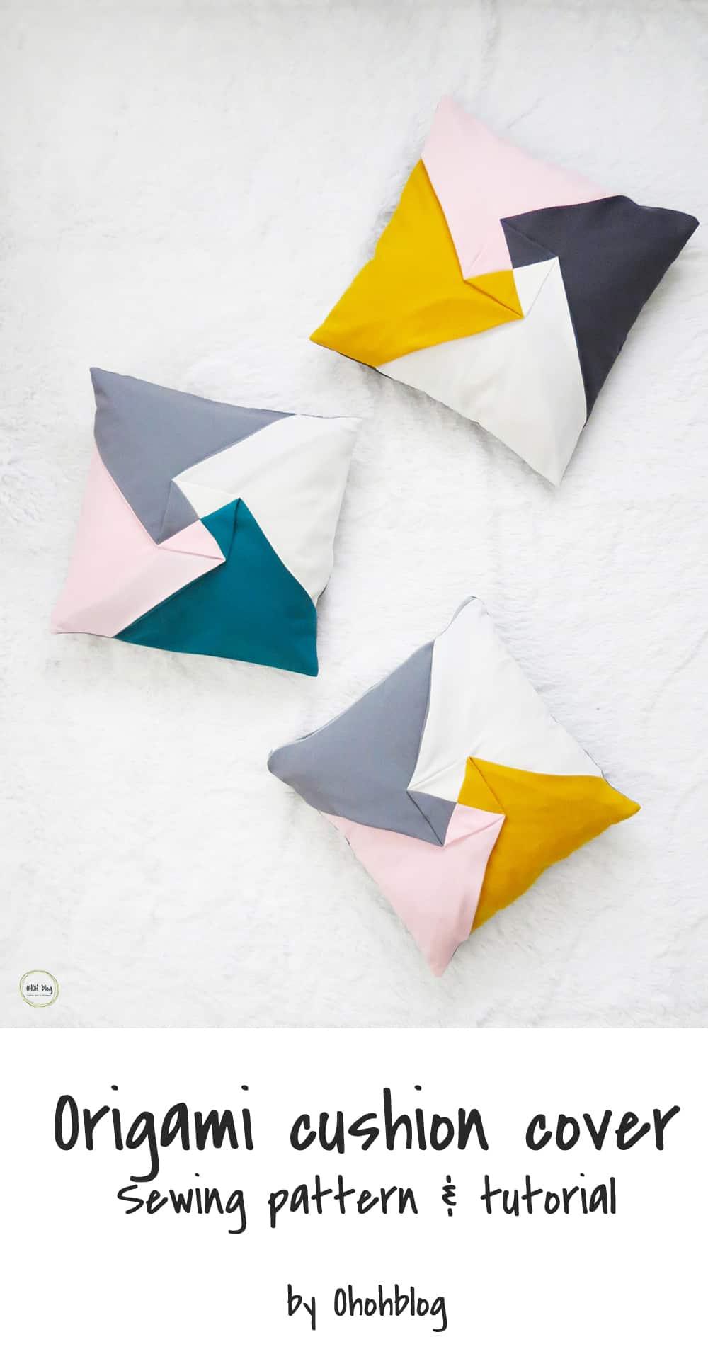 color block origami cushion