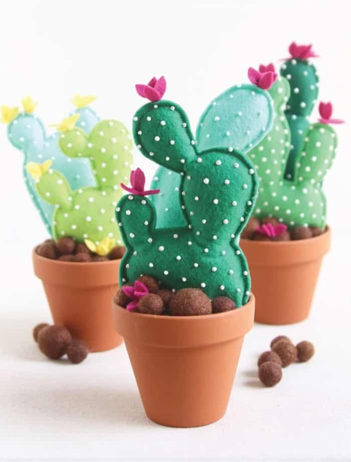 DIY felt cactus craft
