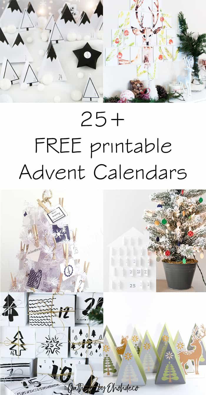 25 free printable advent calendar