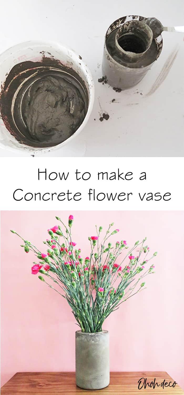 how to make a diy concrete flower vase