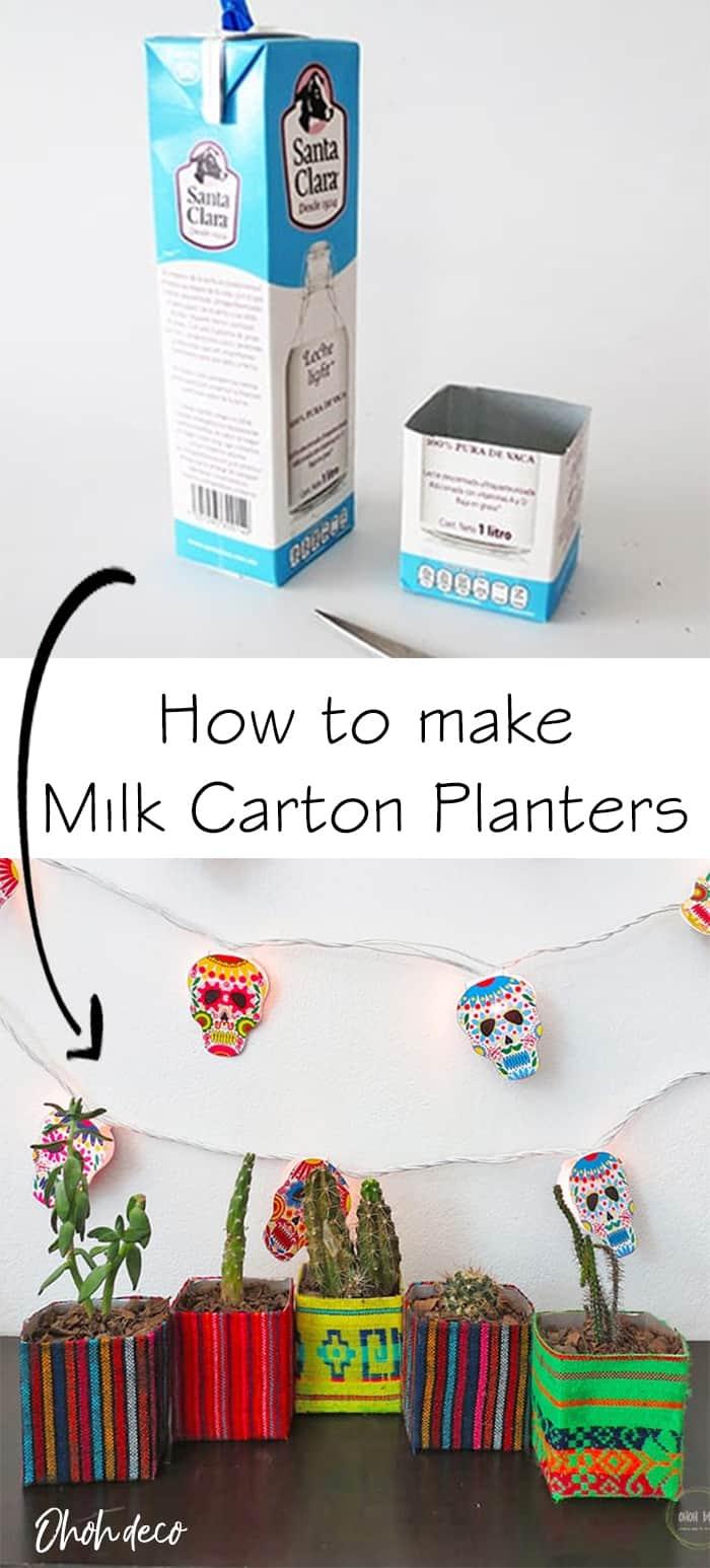 how to make milk carton planters