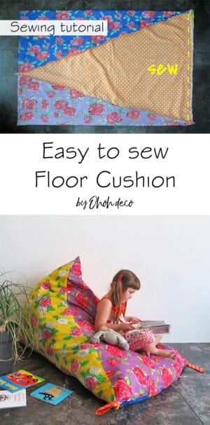 Easy to sew floor cushion tutorial