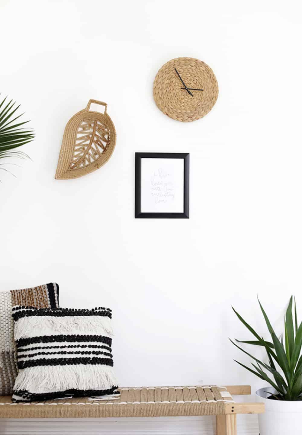 DIY woven wicker wall clock