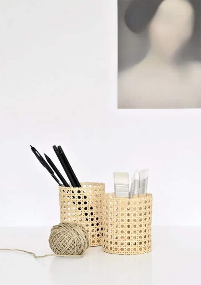 diy rattan pencil holder