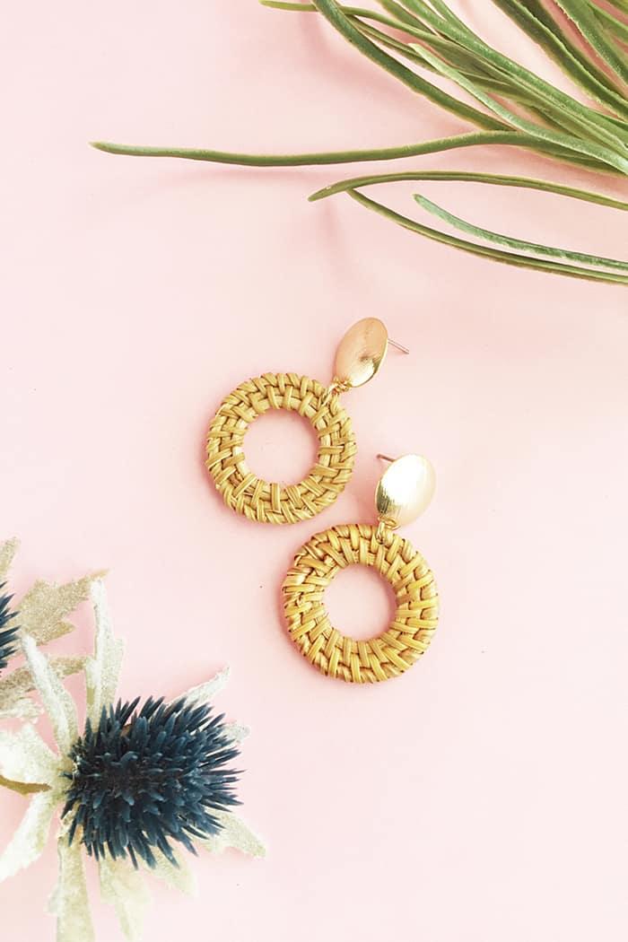 diy rattan earrings