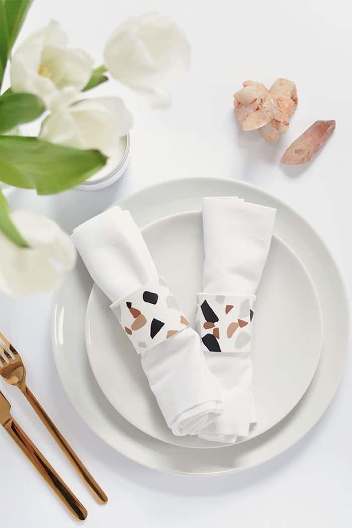 diy terrazzo napkin holder