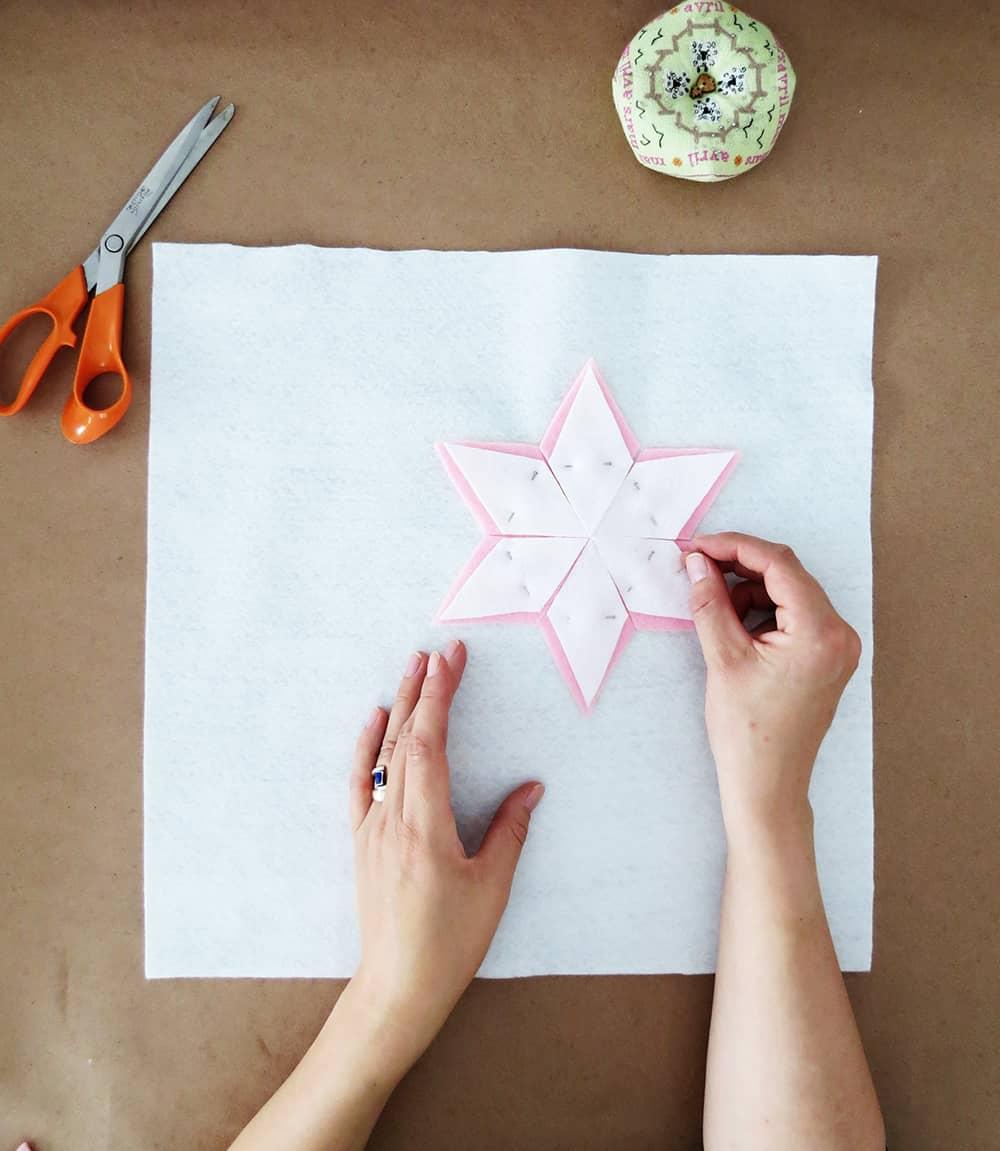 How to sew a felt christmas cushion - poinsettia template