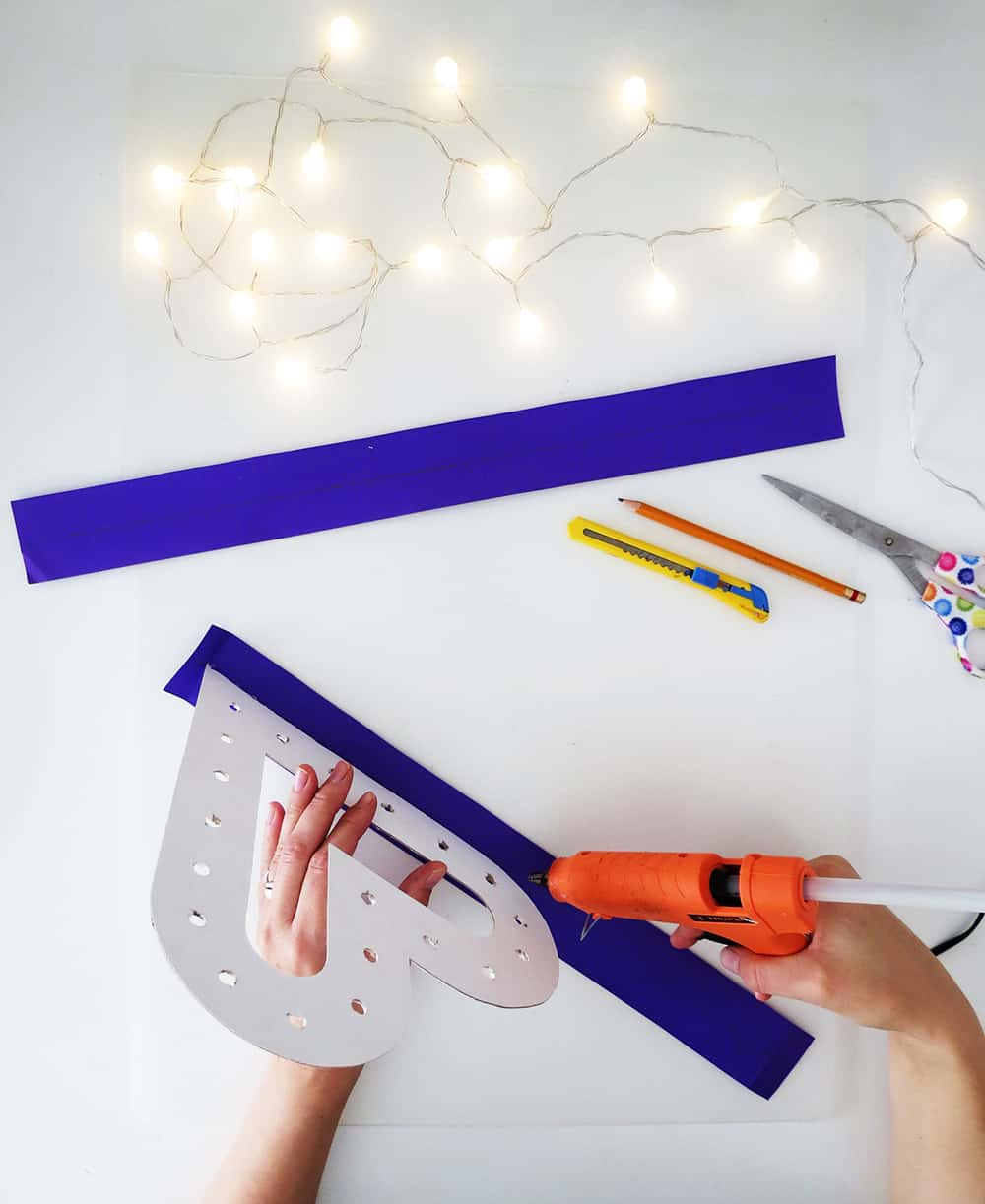 gluing diy marquee sign