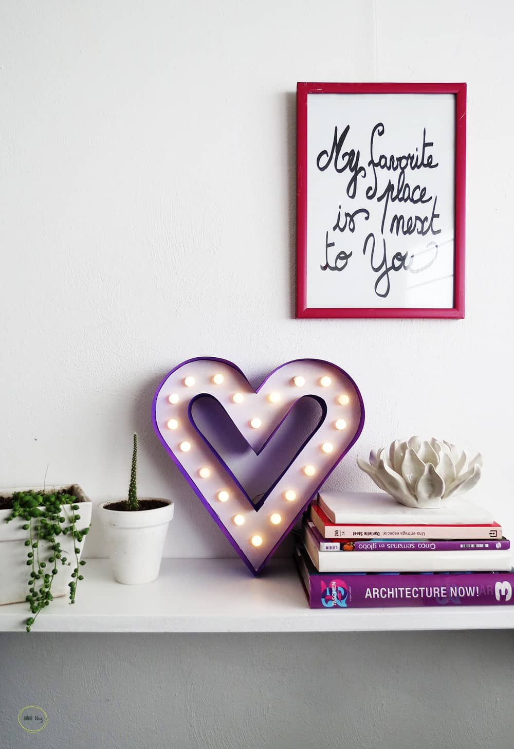 DIY marquee heart sign