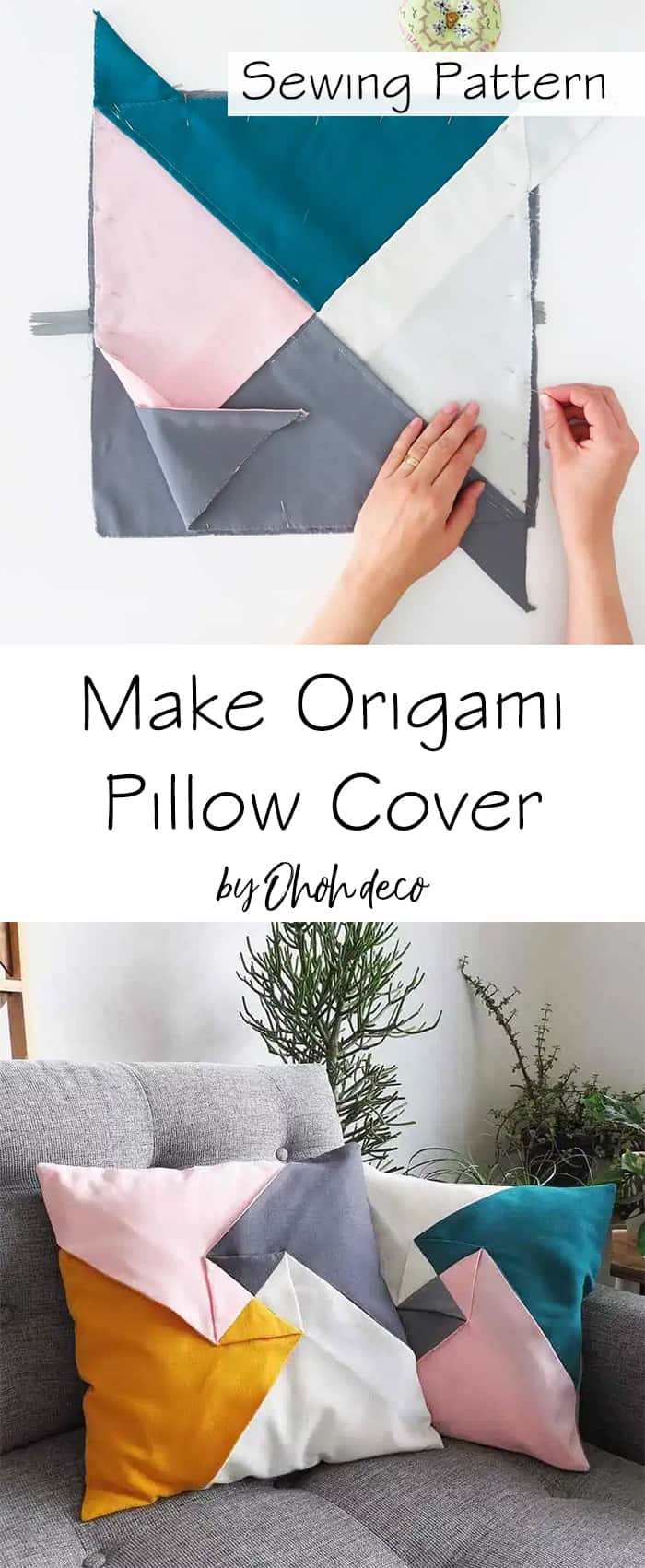 origami pillow cover sewing pattern and tutorial
