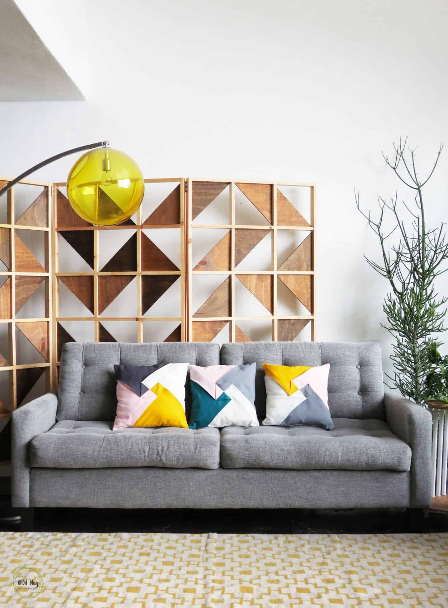 color block pillows on couch