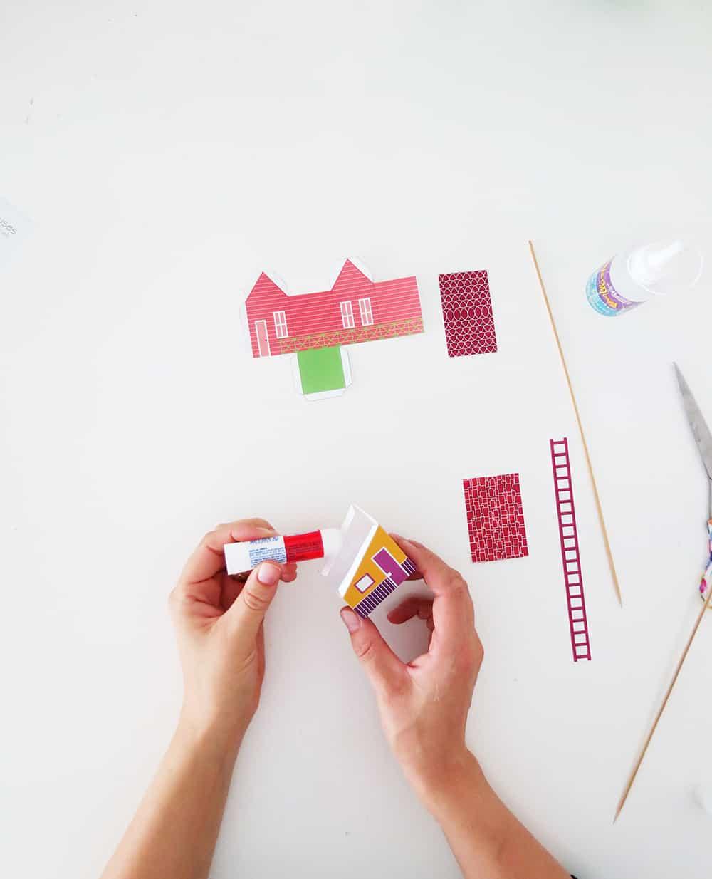 glue togheter the printable house template