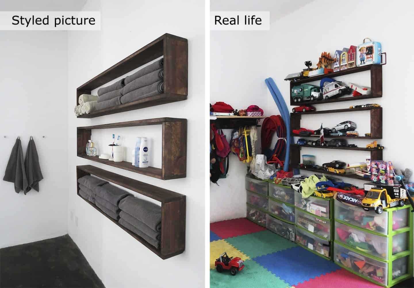 before and after shelving