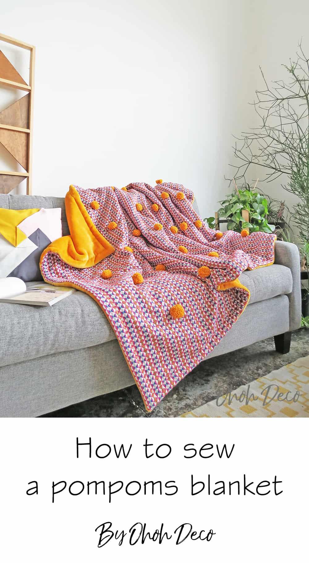 how to sew a pom pom blanket