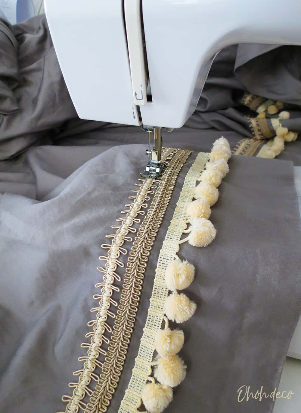 sew trims on bed sheets
