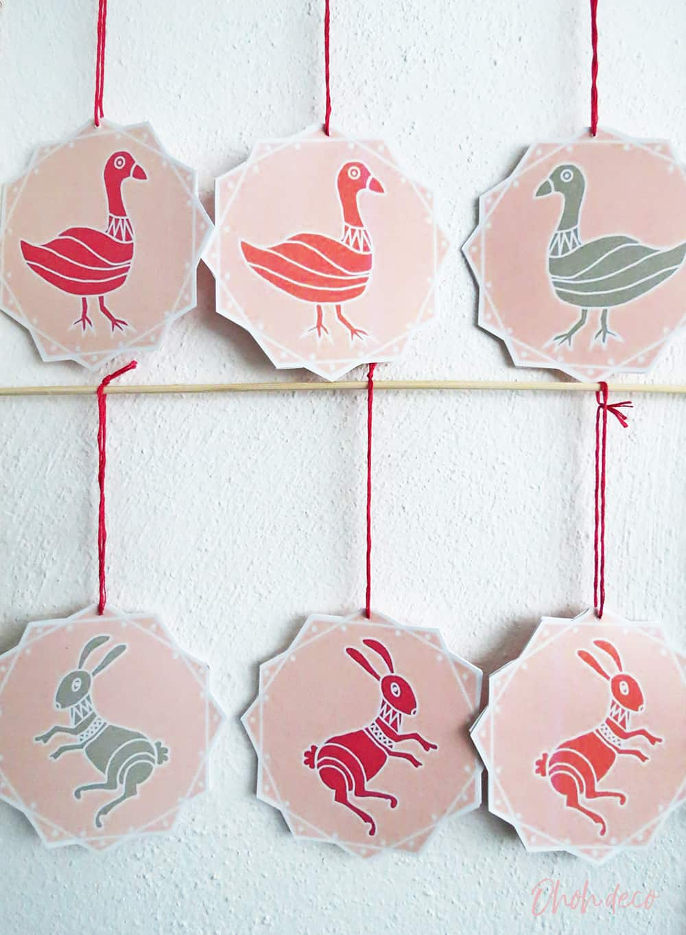 DIY printed paper Christmas ornaments
