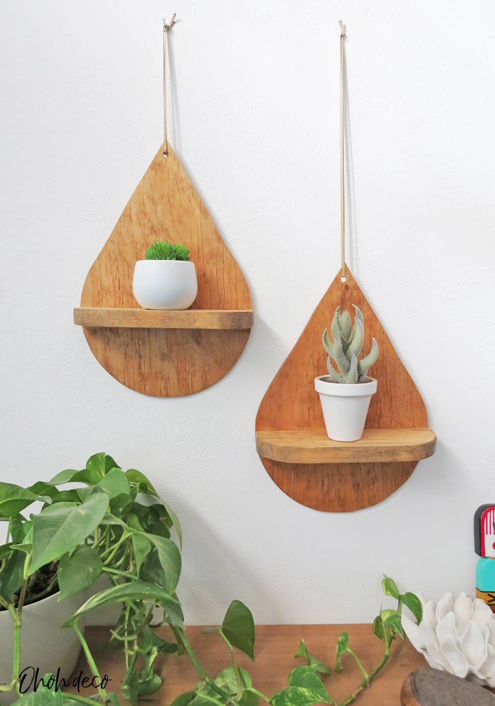 homemade drop shaped shelves