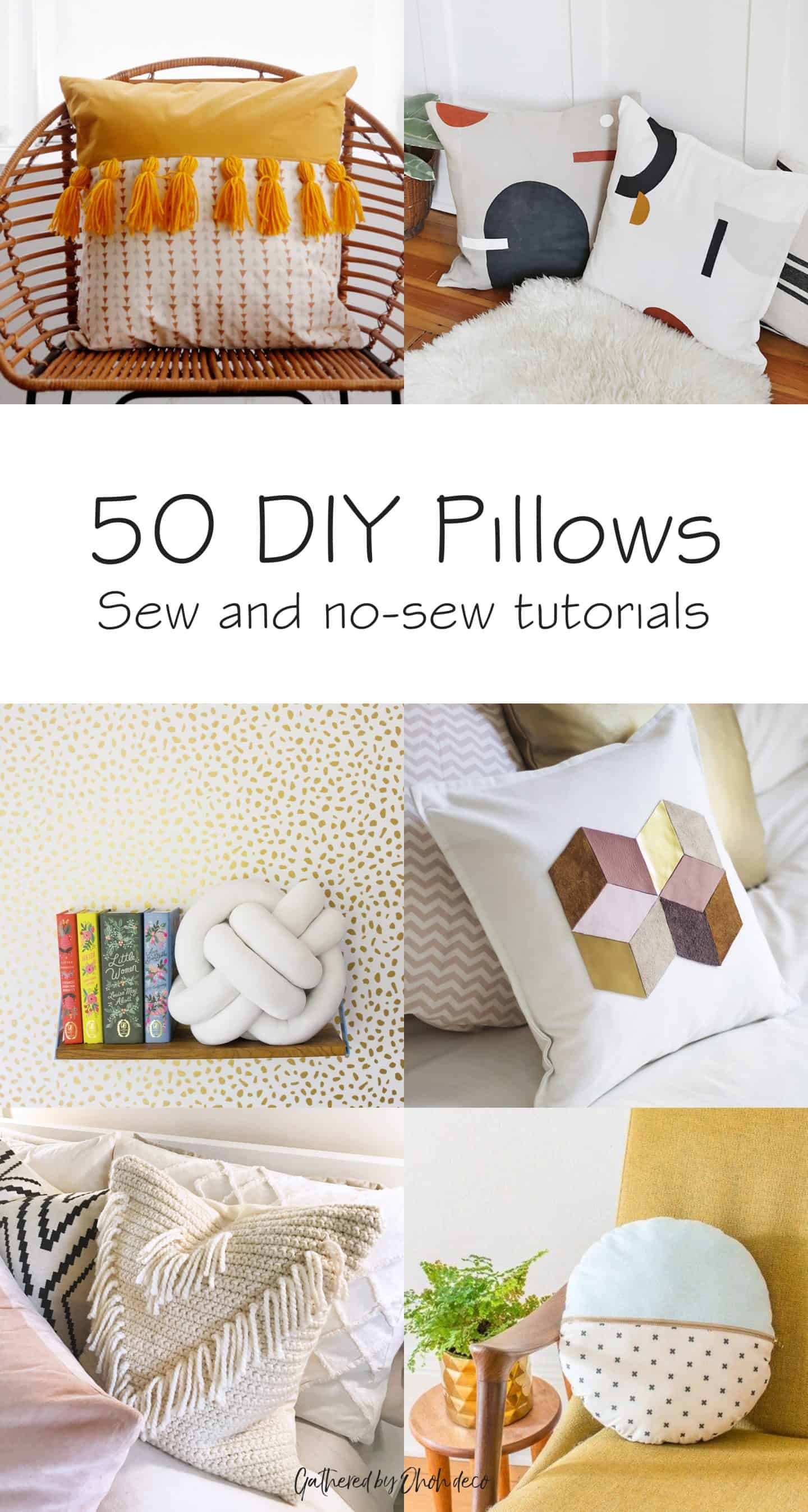 50 DIY pillows - sewing tutorial and no-sew step by step #pillow #cushion #sewing #nosew