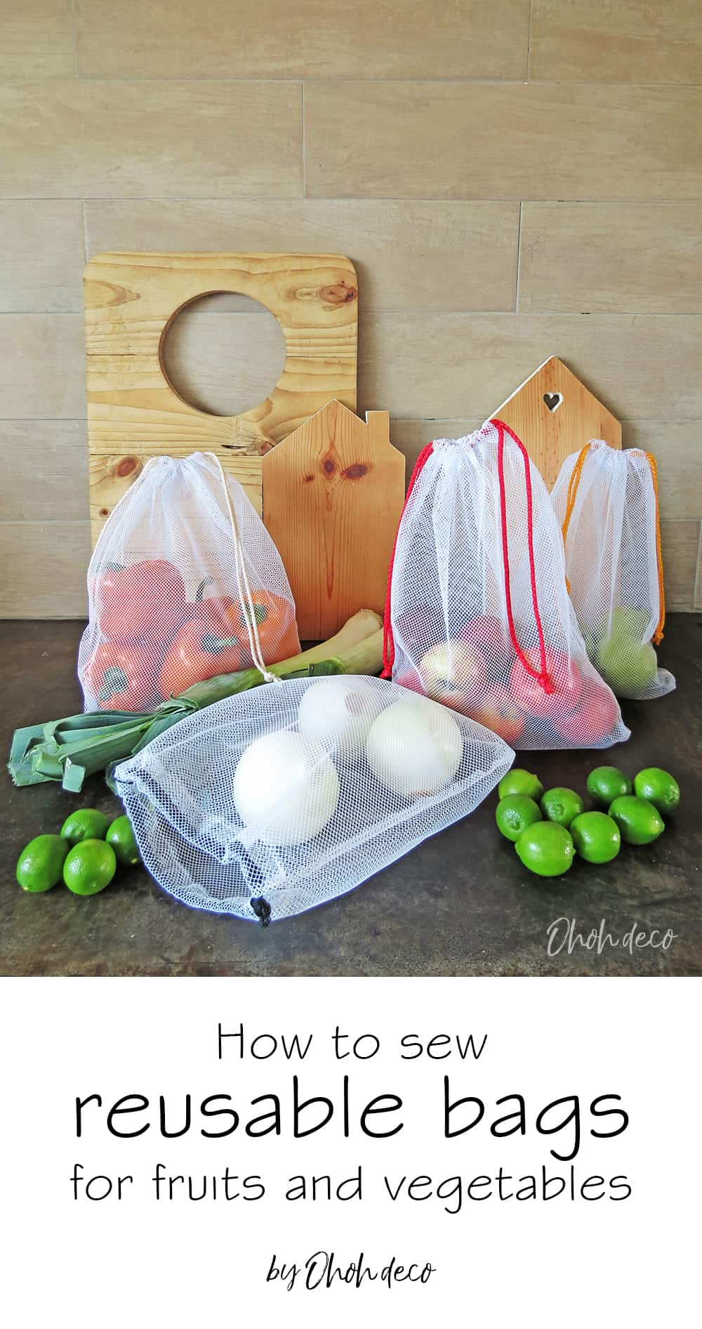 how to sew fruits and vegetables bags with tulle fabric #fabricbag #sewingtutorial #sustainable #green