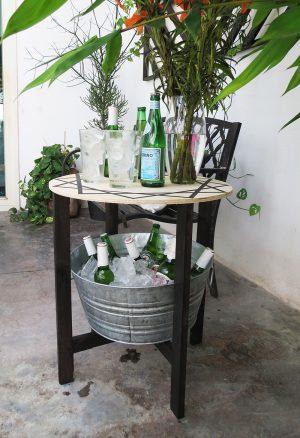 DIY patio upgrade #treillis #backyard #diy #sidetable #patio #candle #etchglass