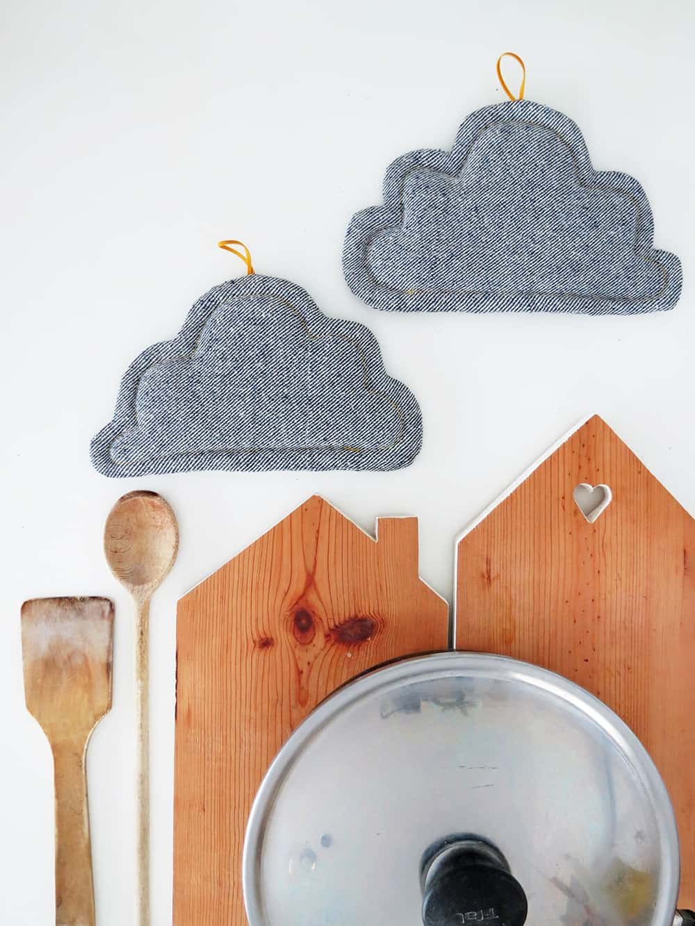How to sew cloud shaped pot holders