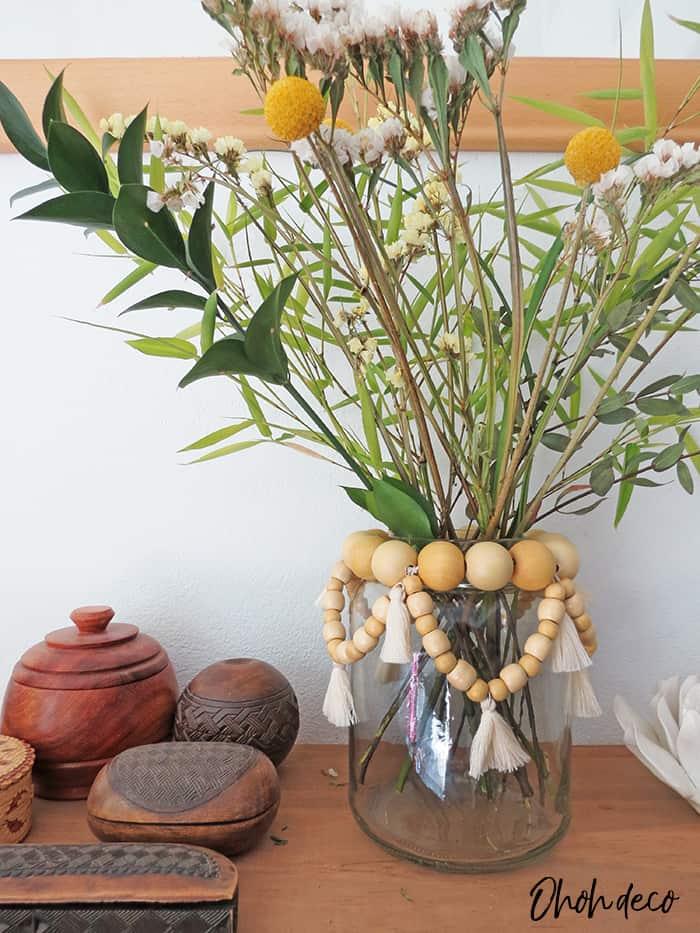 Recycled glass jar as flower vase