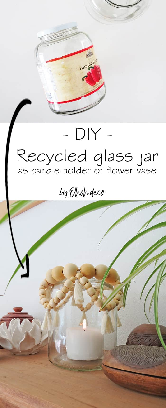 Recycled glass jar as flower vase