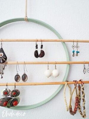 DIY wall earring holder