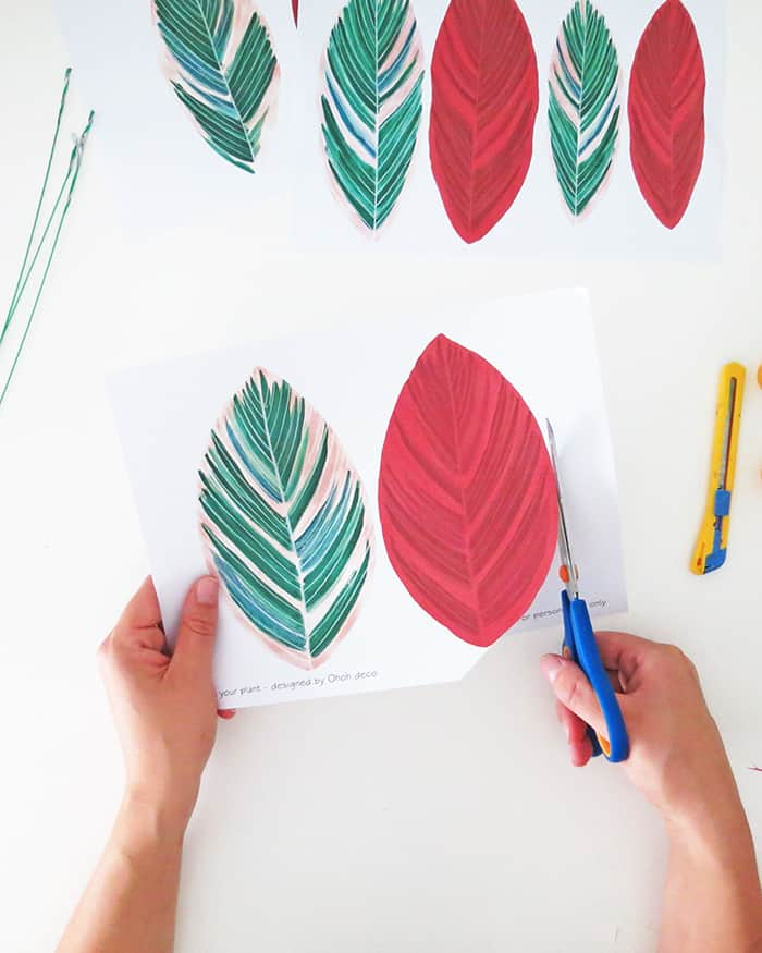 how to make diy paper plant cutting leaves