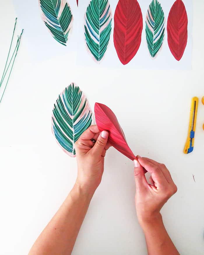 how to make diy paper plant folding leaf