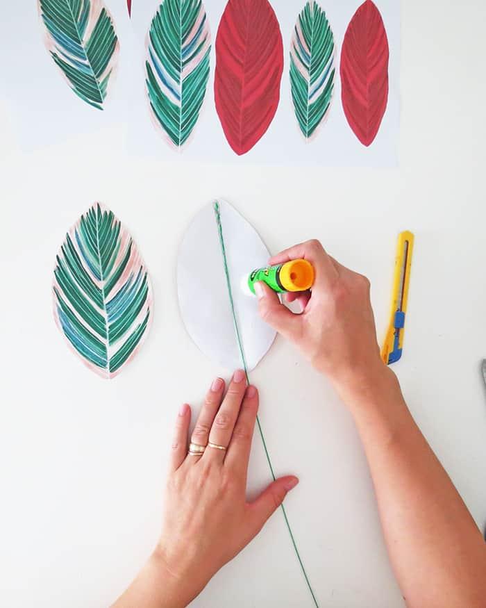 how to make diy paper plant gluing leaf