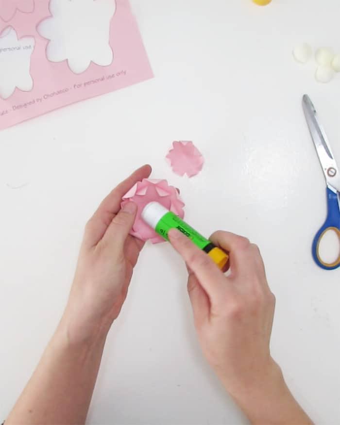 gluing paper flower