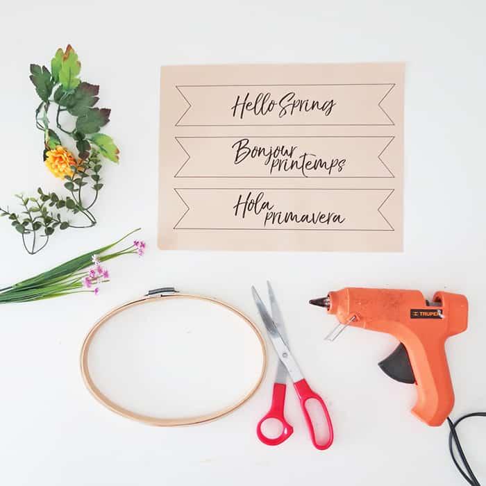 supplies to make a diy spring wreath