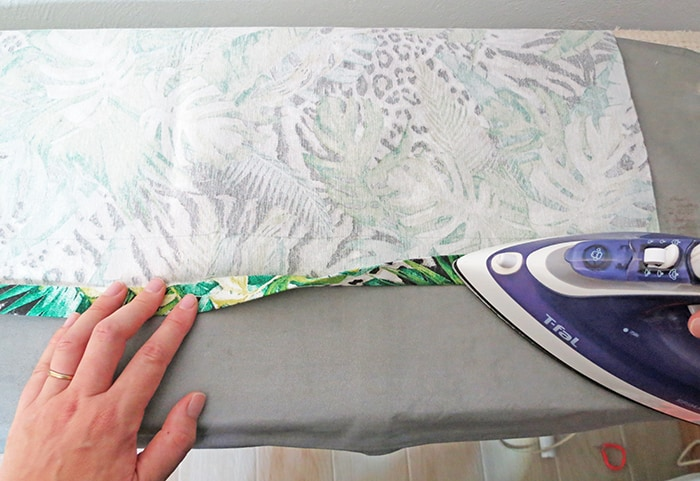 doule fold fabric edge to make relaxed roman shades