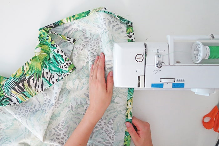 sew fabric to make relaxed roman shades