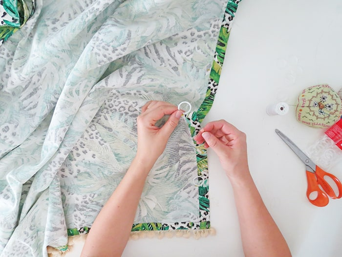 sewing rings to make relaxed roman shades