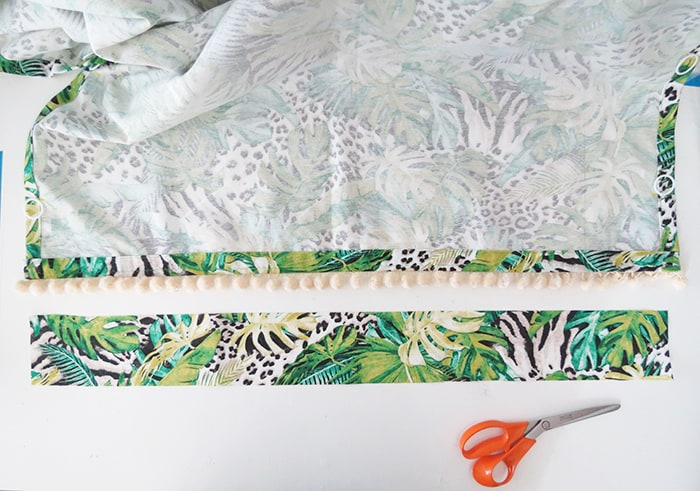 cutting fabric fold to make relaxed roman shades