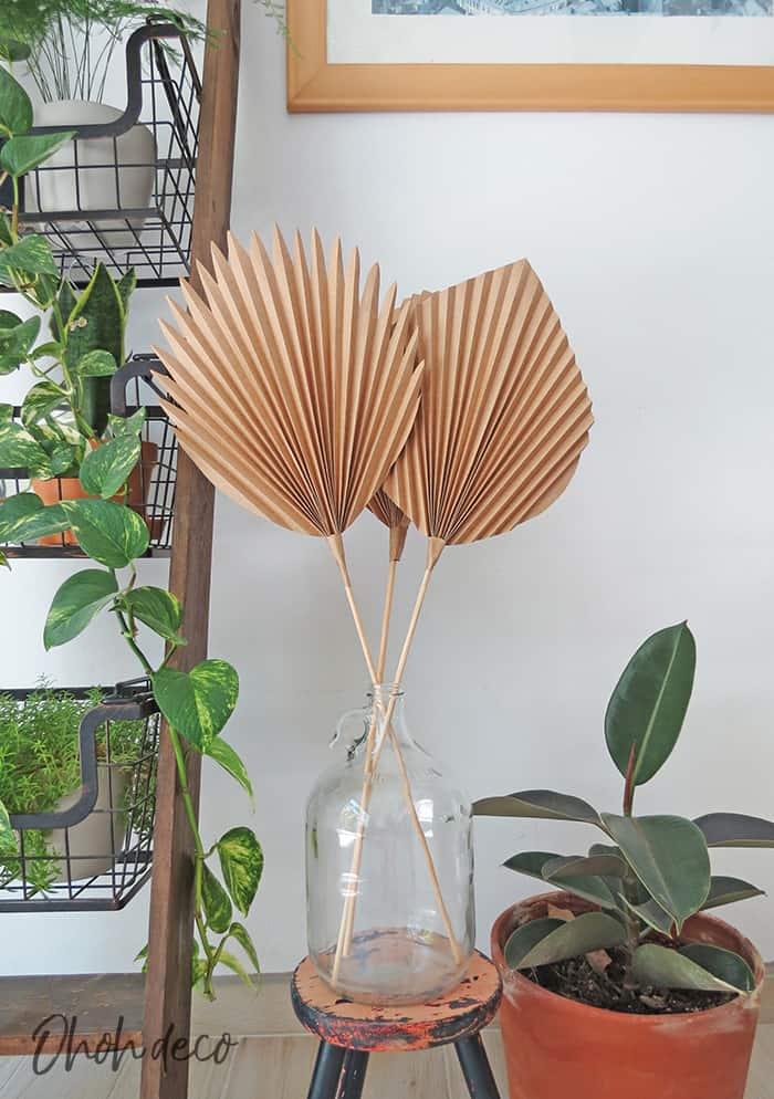 DIY paper palm leaf decor
