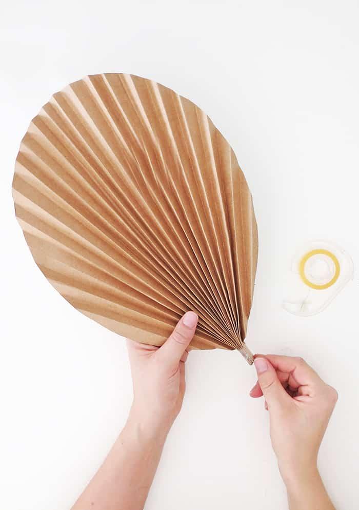diy paper palm leaf tape the base
