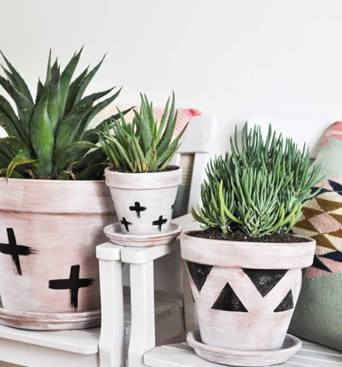diy white washed planters