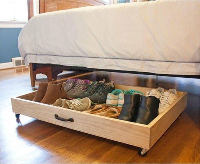 diy shoe storage under bed