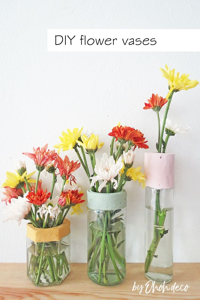 how to make flower vase with glass jar and concrete