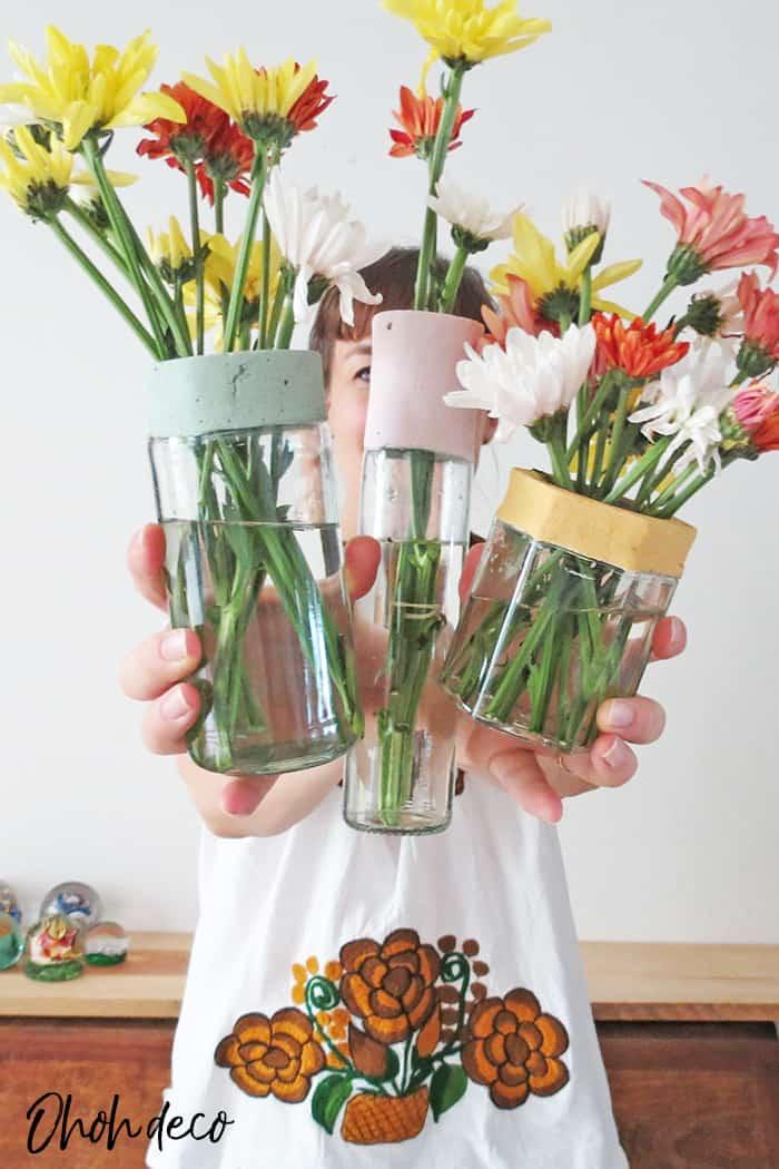 showing my diy flower vases