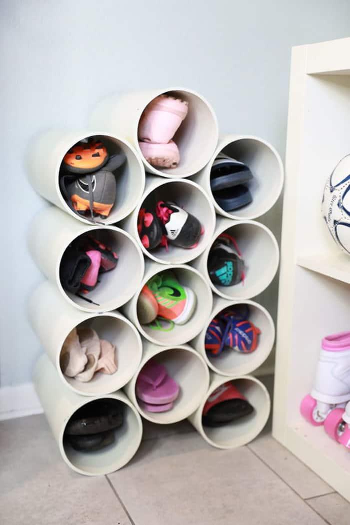 diy shoe storage with tube