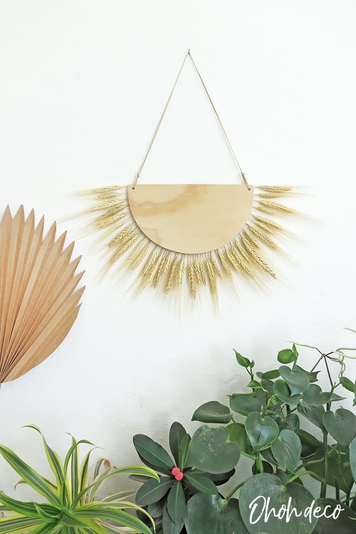 DIY wheat wall hanging