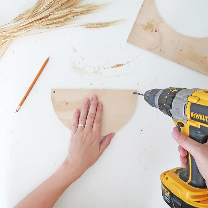 drill holes on the corner to hang your wheat decor