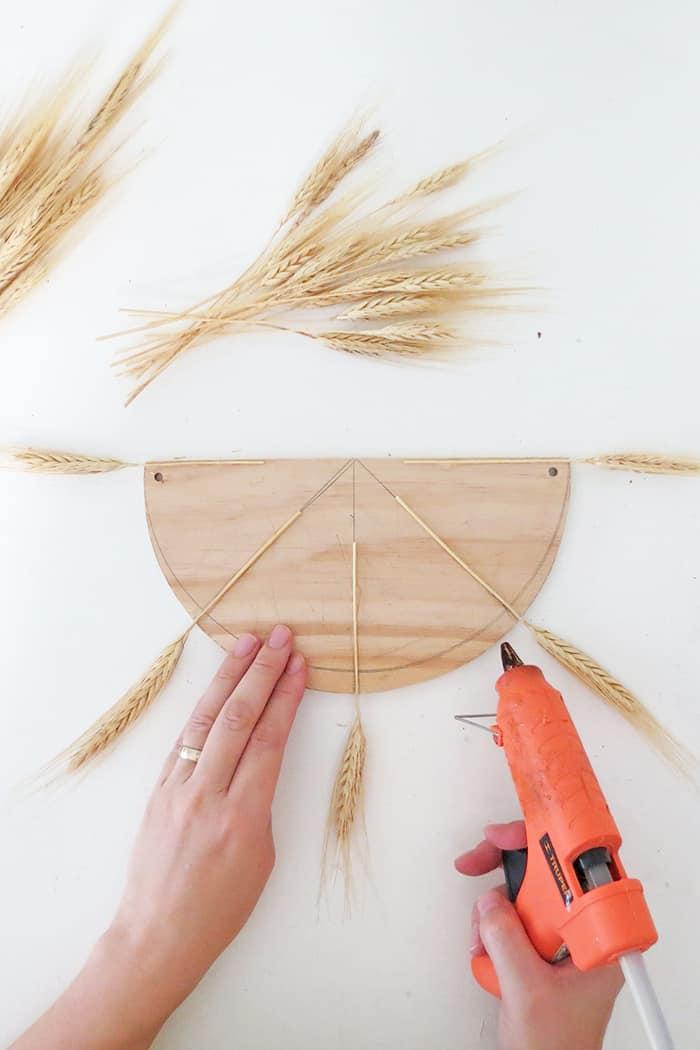 glue the dried wheat