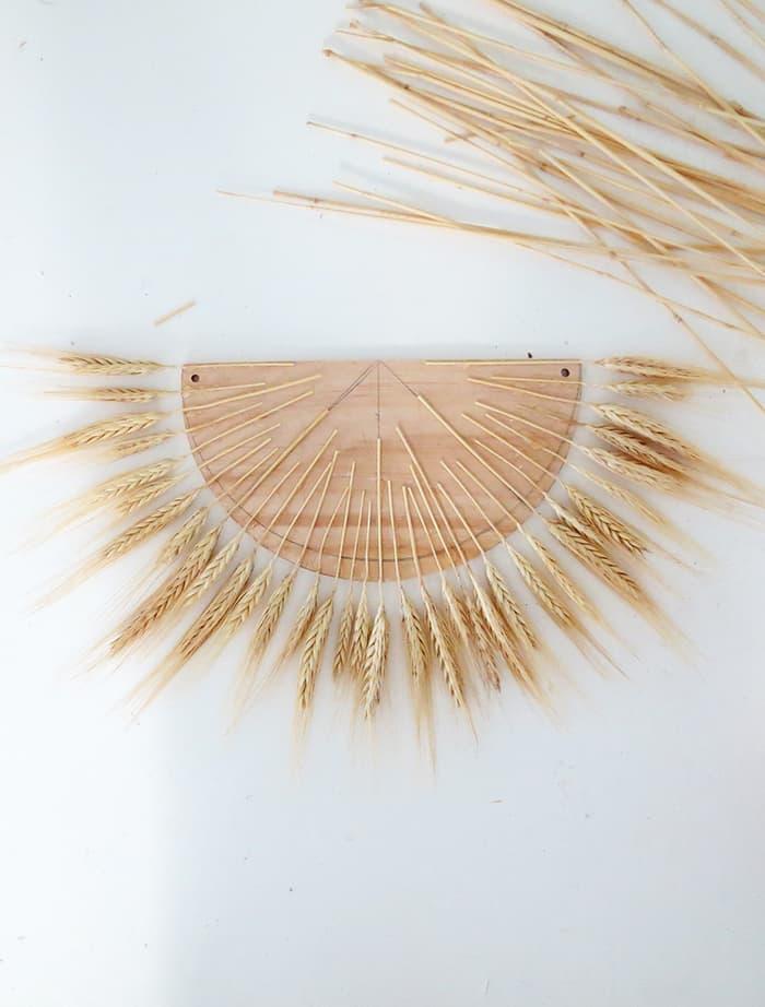 glue dried wheat all around the shape